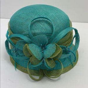 Multi colored aqua spring green derby hat